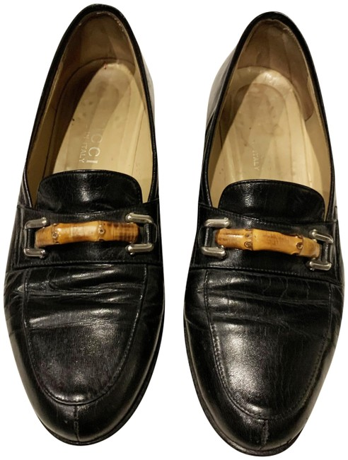 Gucci Black Leather Signature Bamboo Flats Size US 6 Regular (M, B) Gucci Black Leather Signature Bamboo Flats Size US 6 Regular (M, B) Image 1