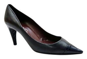 Chanel Pointed Toe Cap Toe Cc Black Pumps