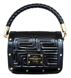 Versace Gianni Couture Patent Leather Greca Quilted Gold Hardware Handbag Chain Rare Shoulder Bag