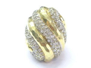 Henry Dunay Designs 18Kt Henry Dunay Diamond SOLID Yellow Gold Hammered Dome Ring 2.75Ct