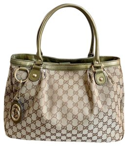 Gucci Sukey Top Handle Gg Monogram Tote in Taupe & Brown