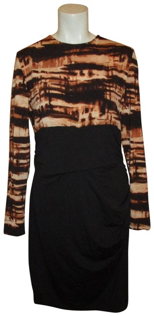 Item - Black Brown & Tan Long Sleeve Stretchy Knit Short Work/Office Dress Size 14 (L)