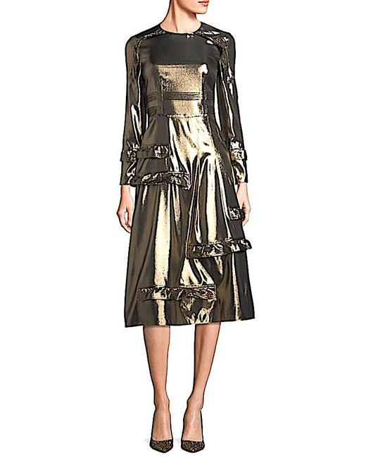 Item - Gold with Tag Women's Metallic Ruffle-trimmed Mid-length Cocktail Dress Size 12 (L)