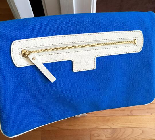 Kate Spade Purse Handbag Designer Purse Blue with off white leather trim Clutch