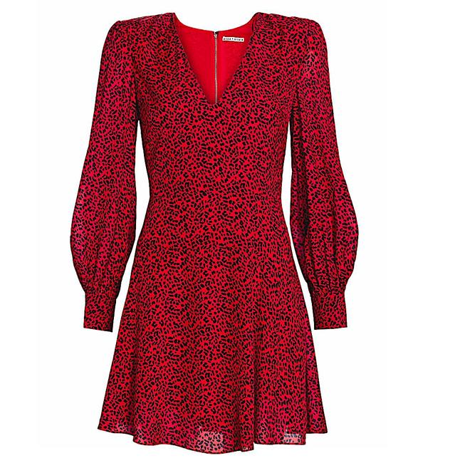Item - Red with Tag Viscose. Polly Animal-print Strong-shoulder Short Night Out Dress Size 2 (XS)