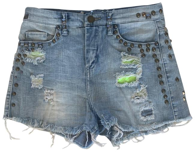 Item - Blue Silver Gold Distressed Studded Cutoff Jeans 26 Shorts Size 2 (XS, 26)