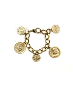Chanel Chanel Goldtone Coco Coin Charm Chainlink Bracelet
