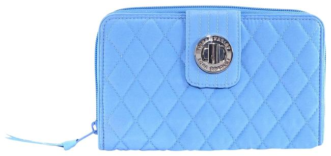 Item - Sky Blue Quilted Fabric Turnlock Wallet