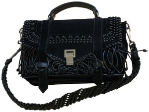 Proenza Schouler Ps1 Tiny Suede Braided Leather Limited Edition Tote in black