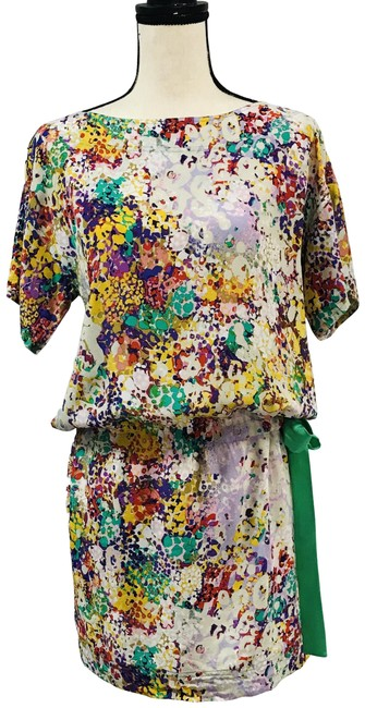 Item - Multicolor Tunic Top Yellow Red Floral Sleeve Scoop Neck Drop Waist Mid-length Short Casual Dress Size 2 (XS)