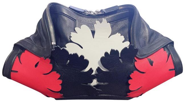 "Alexander McQueen ""Del Manta Lotus Flower"" Black/Red/White Leather Clutch Alexander McQueen ""Del Manta Lotus Flower"" Black/Red/White Leather Clutch Image 1"