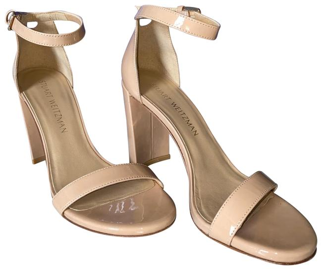 Item - Nude Leather Block Heel Ankle Strap Sandals Size US 7 Regular (M, B)