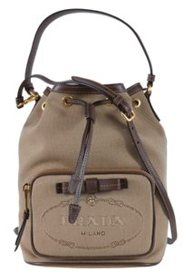 Prada Crossbody Purse Handbag Bucket Tote in Brown