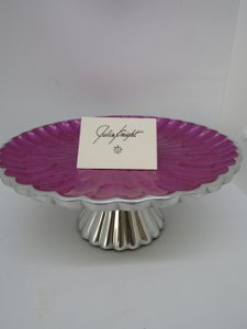 "Raspberry/Silver Enameled 10"" Cake In Box Other"