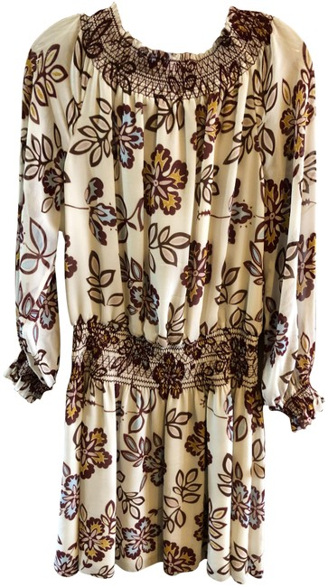 Item - Ivory/Blue/Pink/Maroon Silk Printed Short Casual Dress Size 4 (S)