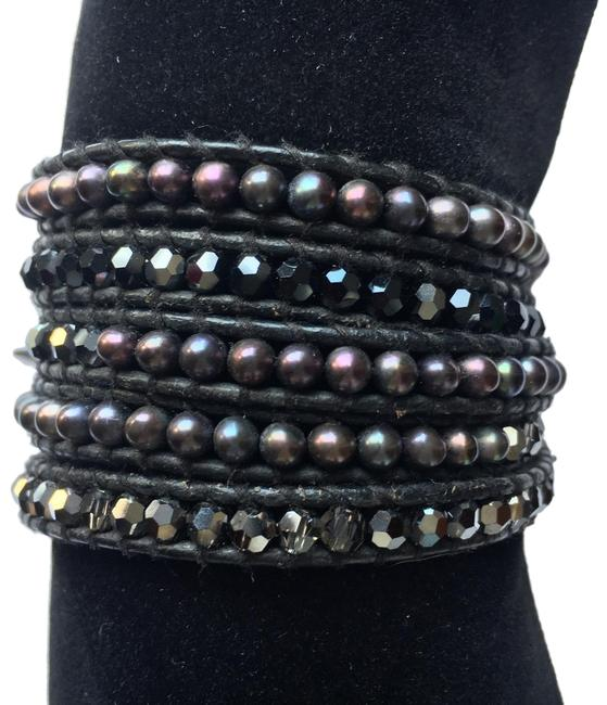 Item - Black & Pearl Onyx Crystal Five Wrap Leather Bracelet