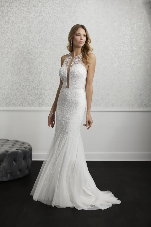 Adrianna Papell Ivory Pearl Nude Lace 40236 Modern Wedding Dress