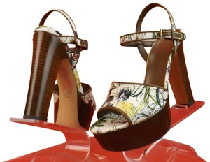 Gucci Flower White Buckle Wood Ankle Strap Multicolor Platforms