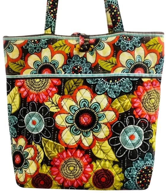 Item - Bag Retired Flower Shower Bright Yellow Black Green Red Cotton Tote