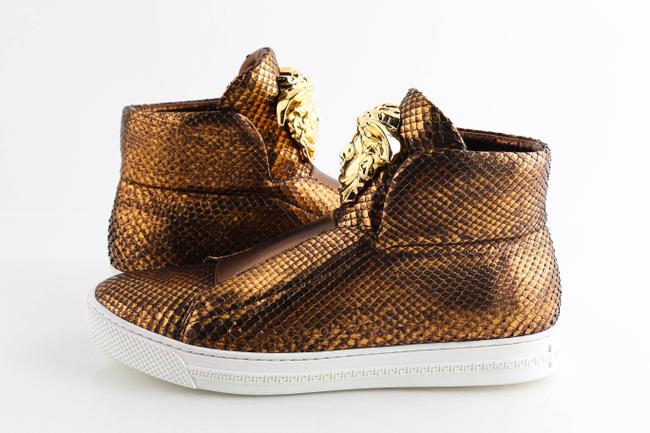 Item - Gold Python Skin High Top Slip On Sneakers Shoes