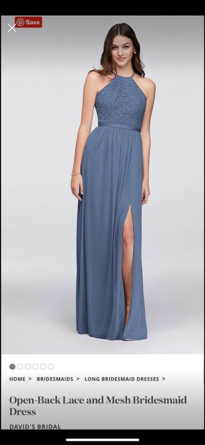 Item - Steel Blue Lace and Mesh Open Formal Bridesmaid/Mob Dress Size 8 (M)