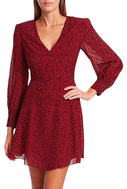 Item - Red with Tag Polly Leopard Print Faux Wrap Mini Short Night Out Dress Size 12 (L)