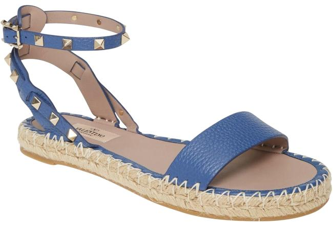Valentino Blue Rockstud T 20 Leather Gold Stud Ankle Strap Espadrille Flat Sandals Size EU 41 (Approx. US 11) Regular (M, B) Valentino Blue Rockstud T 20 Leather Gold Stud Ankle Strap Espadrille Flat Sandals Size EU 41 (Approx. US 11) Regular (M, B) Image 1