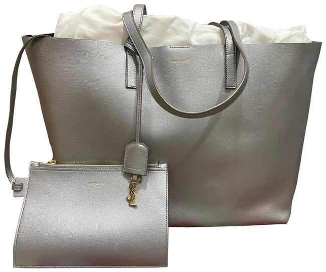 Item - East West Tote Metallic Silver Calfskin Leather Satchel