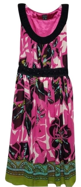 Item - Multi-color Floral Mid-length Cocktail Dress Size 14 (L)
