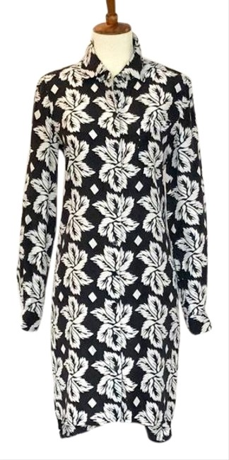 Item - Black Silk Prita Floral Mid-length Work/Office Dress Size 2 (XS)