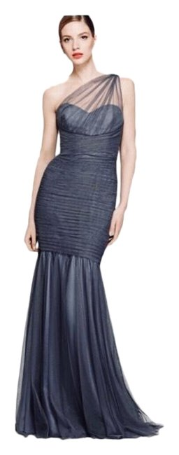 Amsale One-shoulder Draped Tulle Mermaid Gown Long Formal Dress Size 4 (S) Amsale One-shoulder Draped Tulle Mermaid Gown Long Formal Dress Size 4 (S) Image 1