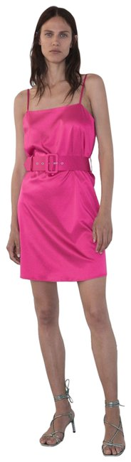 Item - Pink S Satin Effect Mini Strappy Belt 7901/451 Short Cocktail Dress Size 4 (S)
