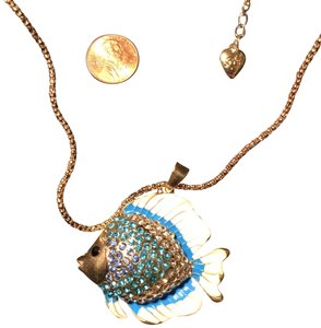"Betsey Johnson 28.5"" Guppy Blue Necklace"