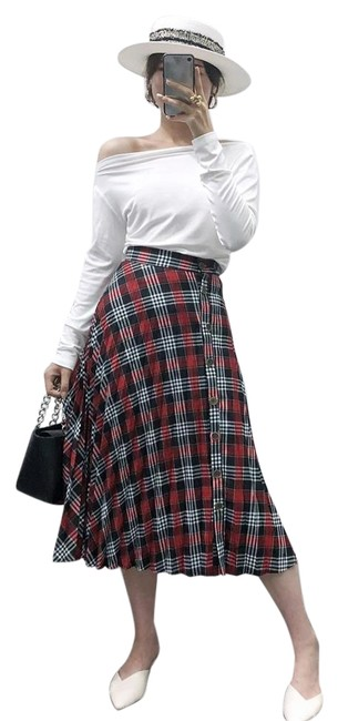 Item - Red Pleated Plaid A-line Below Knee Ref 3666/169 Skirt Size 10 (M, 31)