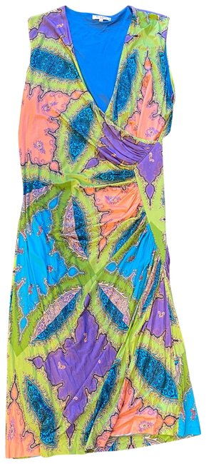 Item - Green Purple Turquoise Sleeveless with Ruching Mid-length Short Casual Dress Size 12 (L)