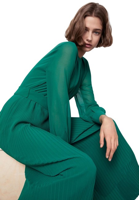 Item - Green XS W Pleated Long Sleeve W/ Removable Belt Color Size Romper/Jumpsuit
