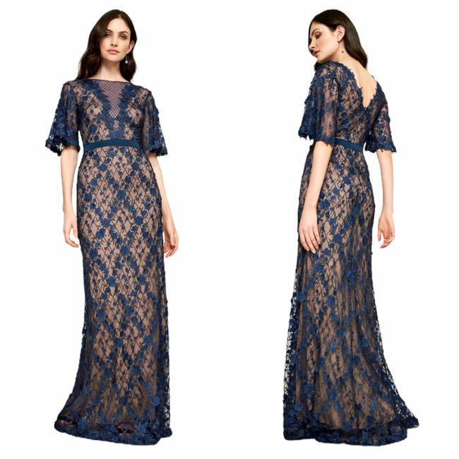 Item - Midnight/Nude Coriander Embroidered Tulle Gown Long Formal Dress Size 10 (M)
