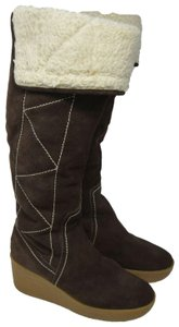 Michael Kors Leather Shearling Wedge Brown Boots