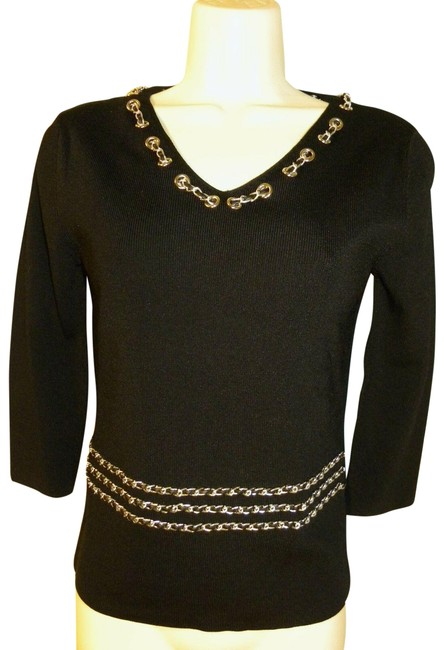 Item - Black W ~stunning Designer Stretch W/ Chain Embellishments Blouse Size 6 (S)