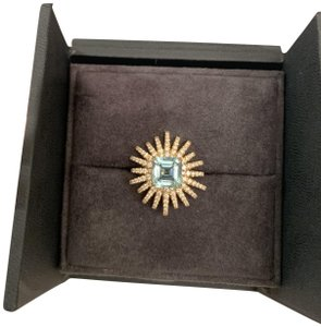 David Yurman 25mm 18k gold, diamond, and aquamarine starburst ring
