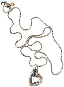 """David Yurman Cable Knot Sterling Silver and Gold Small Heart 16"""" Necklace"""