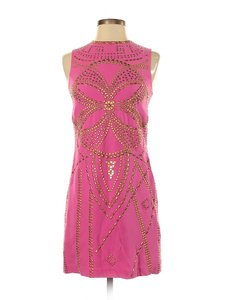 Versace for H&M short dress Pink Sheath Embellished Zip Up Gold Studs Sleeveless on Tradesy