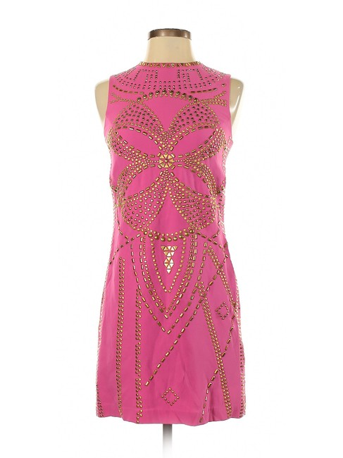 Item - Pink W Sheath Embellished Zip Up W/Gold Studs Short Casual Dress Size 4 (S)