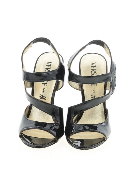 Item - Black Patent Strappy Gold Leather Sandals Size EU 37 (Approx. US 7) Regular (M, B)