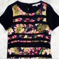 Lovers + Friends Black Floral Striped Shift Short Night Out Dress Size 6 (S) Lovers + Friends Black Floral Striped Shift Short Night Out Dress Size 6 (S) Image 6