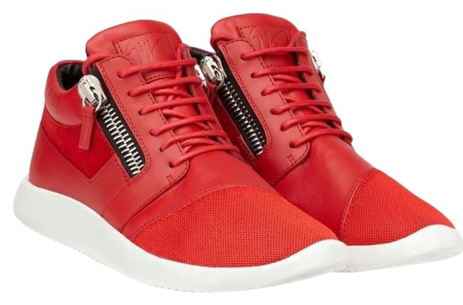 Item - Red White 'runner' Suede Sneakers Size US 8.5 Regular (M, B)