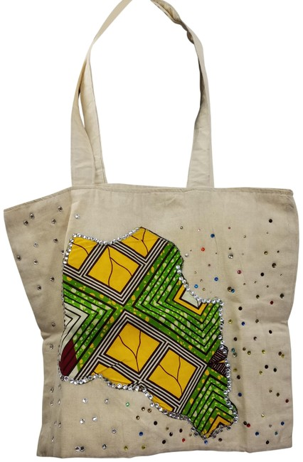Item - African Ankara Danshiki Patch Rhinestontote Womens Grocery Ba Cream/Green Cotton Tote