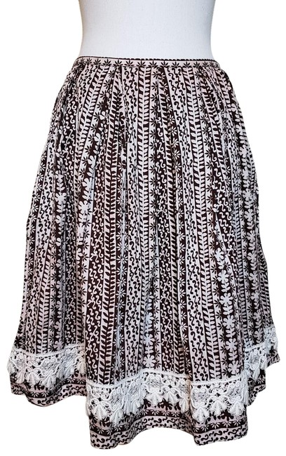 Item - Brown White Peasant Lace Skirt Size 0 (XS, 25)