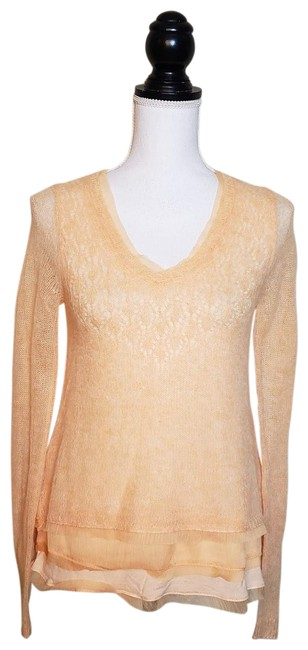 "Item - Orange White / Knitted & Knotted ""Alesia Top"" Blouse Size 2 (XS)"