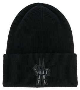 Moncler Moncler Grenoble Men's Black Wool Logo Beanie Hat Oversized